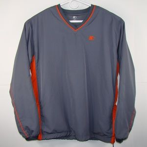 Starter Gray and Orange Long Sleeve Zippered Side